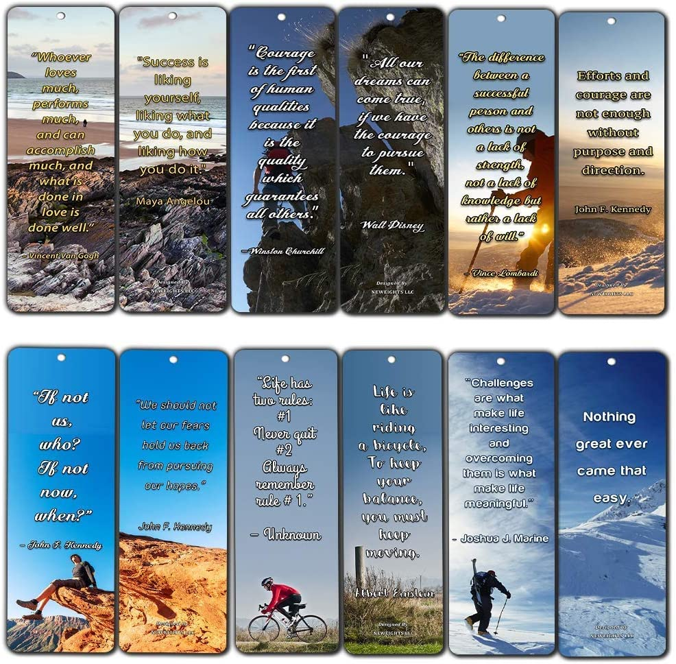 NewEights Adventure Inspirational Quotes Bookmarks (12-Pack) - Stocking Stuffers Devotional Bible Study - Church Ministry Supplies Teacher Classroom Incentive Gifts