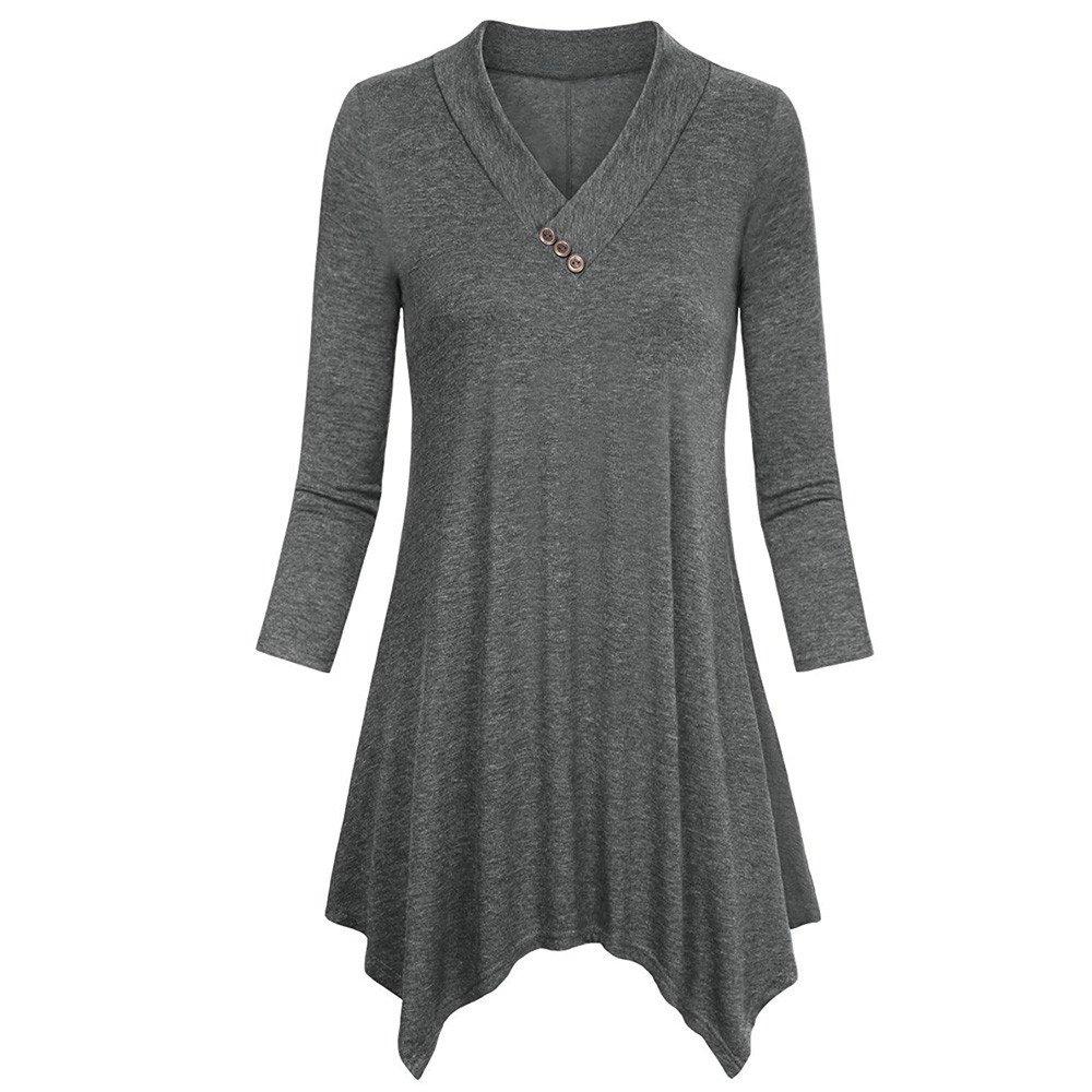 Blouse For Women-Clearance Sale,Farjing Three Quarter Sleeve Irregular Hem Tops Casual Flare Tunic Blouse Shirt(US:8/L,Gray)