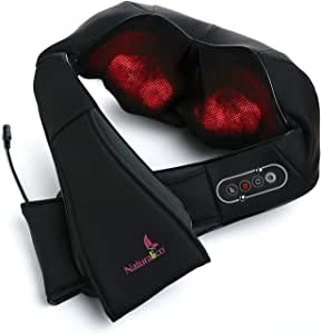 Naturalico Shiatsu Massager - Kneading Massage Therapy for Foot, Back, Neck and Shoulder Pain - Relieves Sore Muscles - Total Body Relaxation