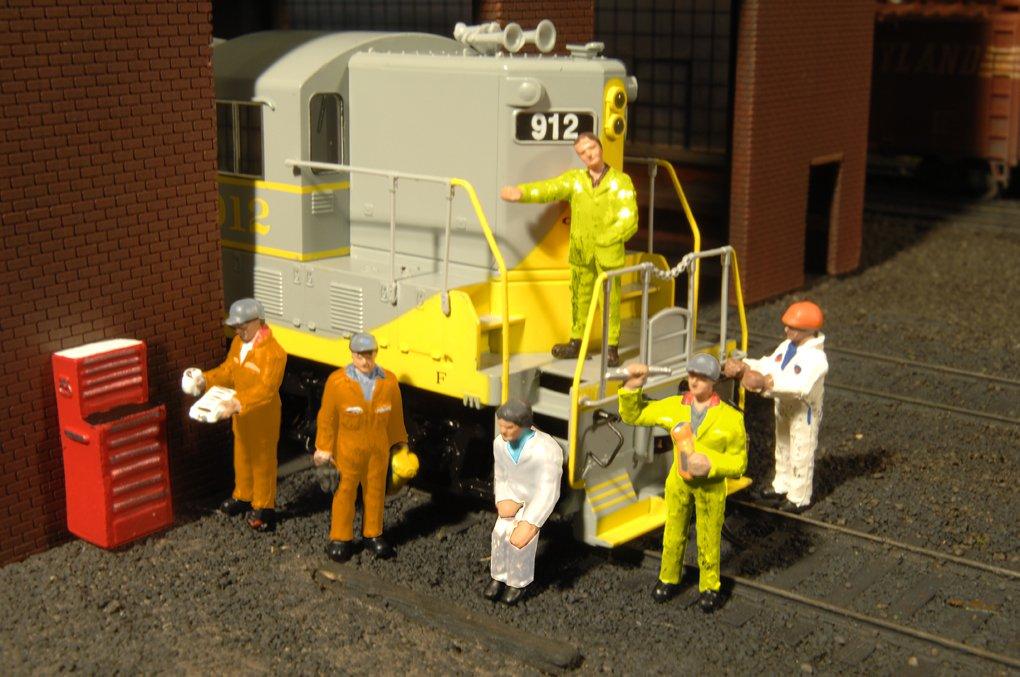 Bachmann Industries Miniature HO Scale Figures Mechanics Train 6 Piece