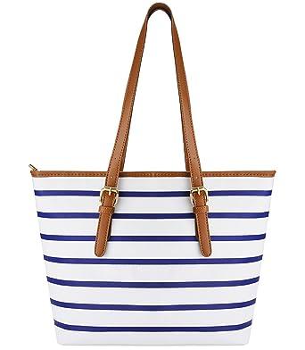 Summer Bag,COOFIT Stripes Purse Tote Shoulder bag Womens Handbag PU Leather  Purse Blue White 39ebe53c74