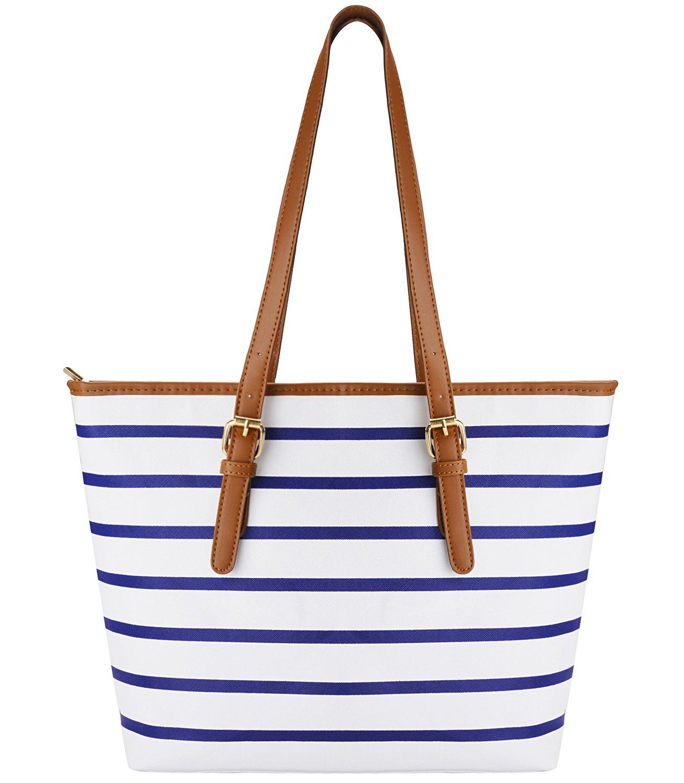Summer Bag,COOFIT Stripes Purse Tote Shoulder bag Womens Handbag PU Leather Purse Blue&White