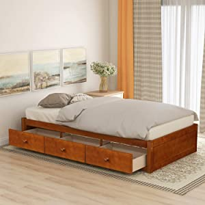 Danxee Twin Bed with Storage Platform Bed with 3 Drawers Captain Bed Frame (Oak)