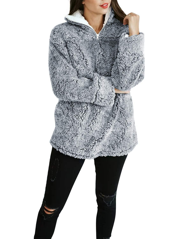 ZESICA Women's Autumn Winter Long Sleeve Zipper Sherpa Fleece Sweatshirt Pullover Jacket Coat Grey by ZESICA