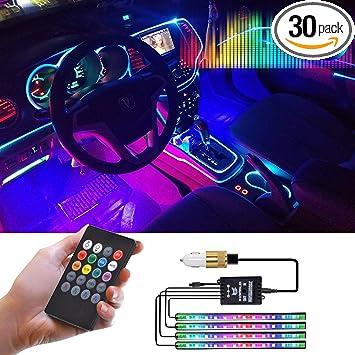 Car Strip Light 4pcs 48 LEDs Atmosphere Lamp Automobile Interior Decor Sound Sensor Remote Control Car Charger Cigar Lighter Bundled