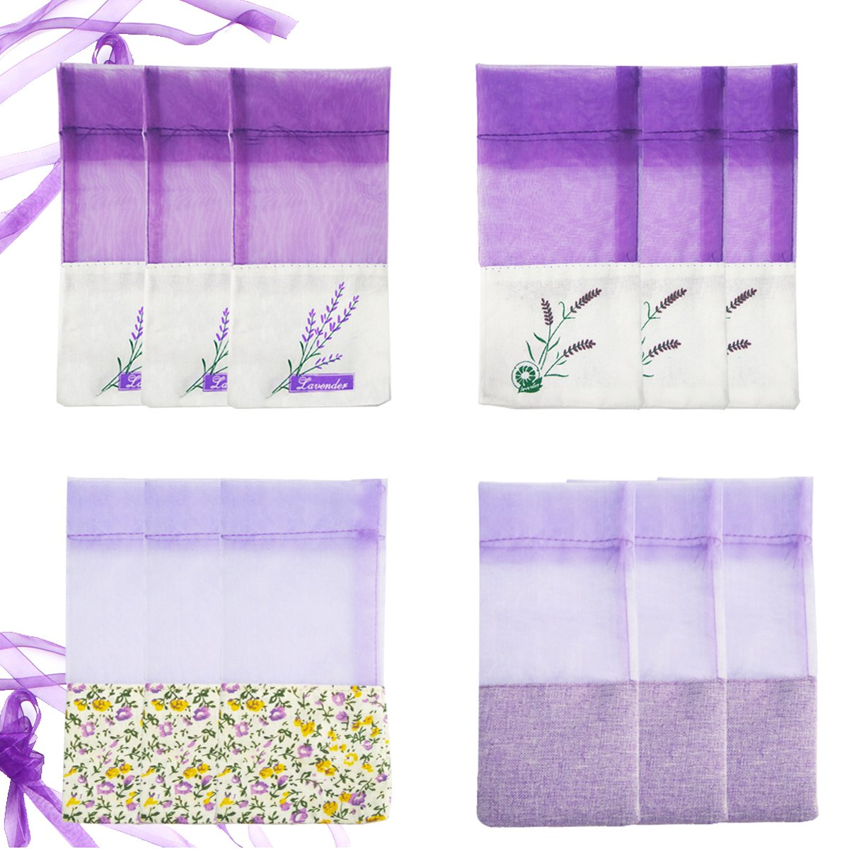 Ezeso 24pcs Sachet Empty Bags Purple Drawstring Gauze Cotton-Ramie Sacks for Lavender, Spice and Herbs(24pcs Drawstring Bag) Ezeso Co. Ltd.