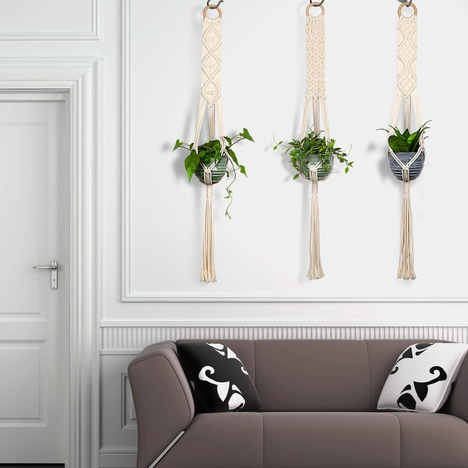Macrame Plant Hangers - House Plants Hanging Holder - Hanging Planters for Indoor Outdoor Plants - Basket Pots Hangers 100% Cotton Cord 3 Legs 40 Inch in Length, Wall Art Boho Home Decor, 3Pcs