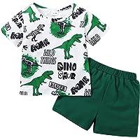 SOBOWO Toddler Baby Boy Dinosaur Clothes Letter Printed Short Sleeve T-Shirt Shorts Set 2Pcs Boy Outfits 6M-4T