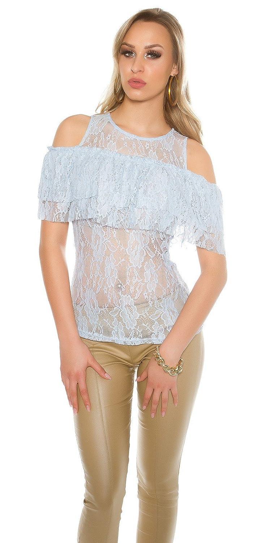 Coldshoulder Spitzenshirt mit Volant - Schulterfreies Damen Top Shirt mit  Spitze Farbauswahl S/M - M/L: Amazon.de: Bekleidung