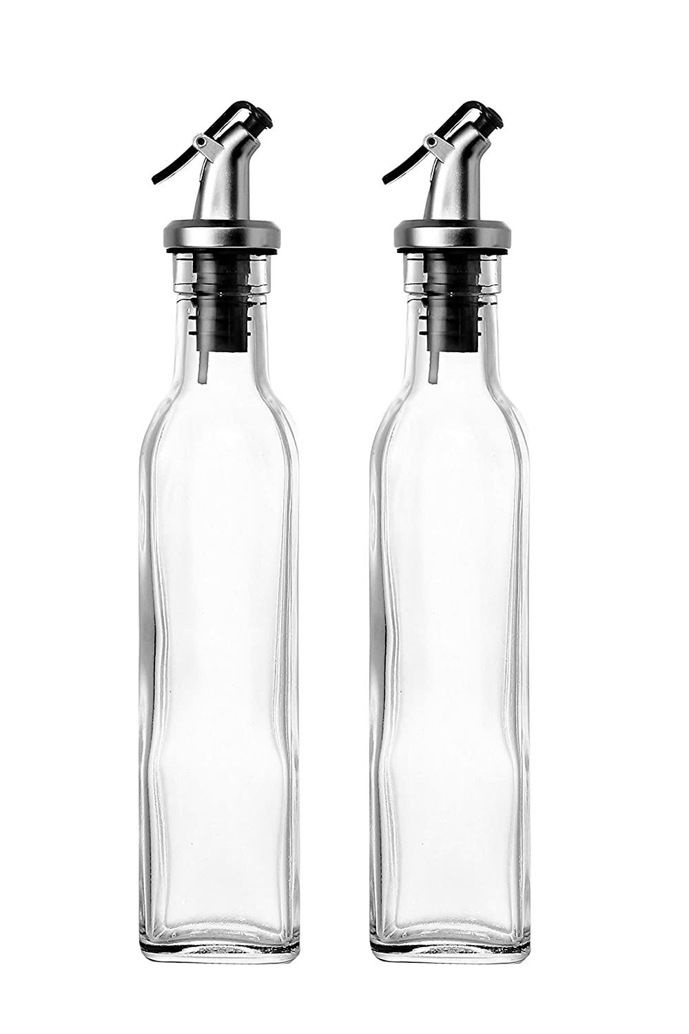 set of 2 oil and vinegar cruet glass bottles with dispensers 250ml by juvale ebay. Black Bedroom Furniture Sets. Home Design Ideas