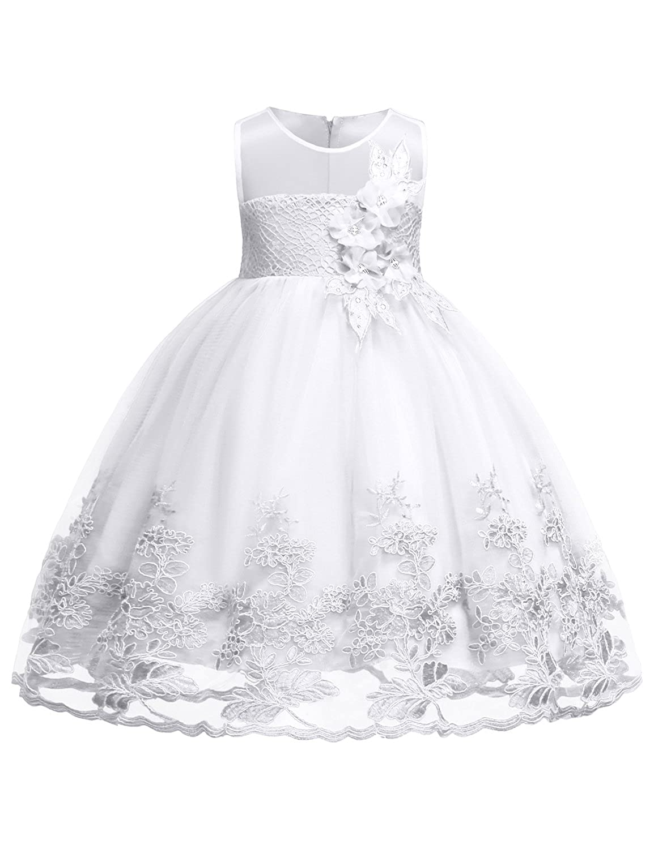 499a89e51e3c Amazon.com  Blevonh Sleeveless Chiffon Girl Dress Kids Lace 3D Flower  Wedding Party Dresses  Clothing
