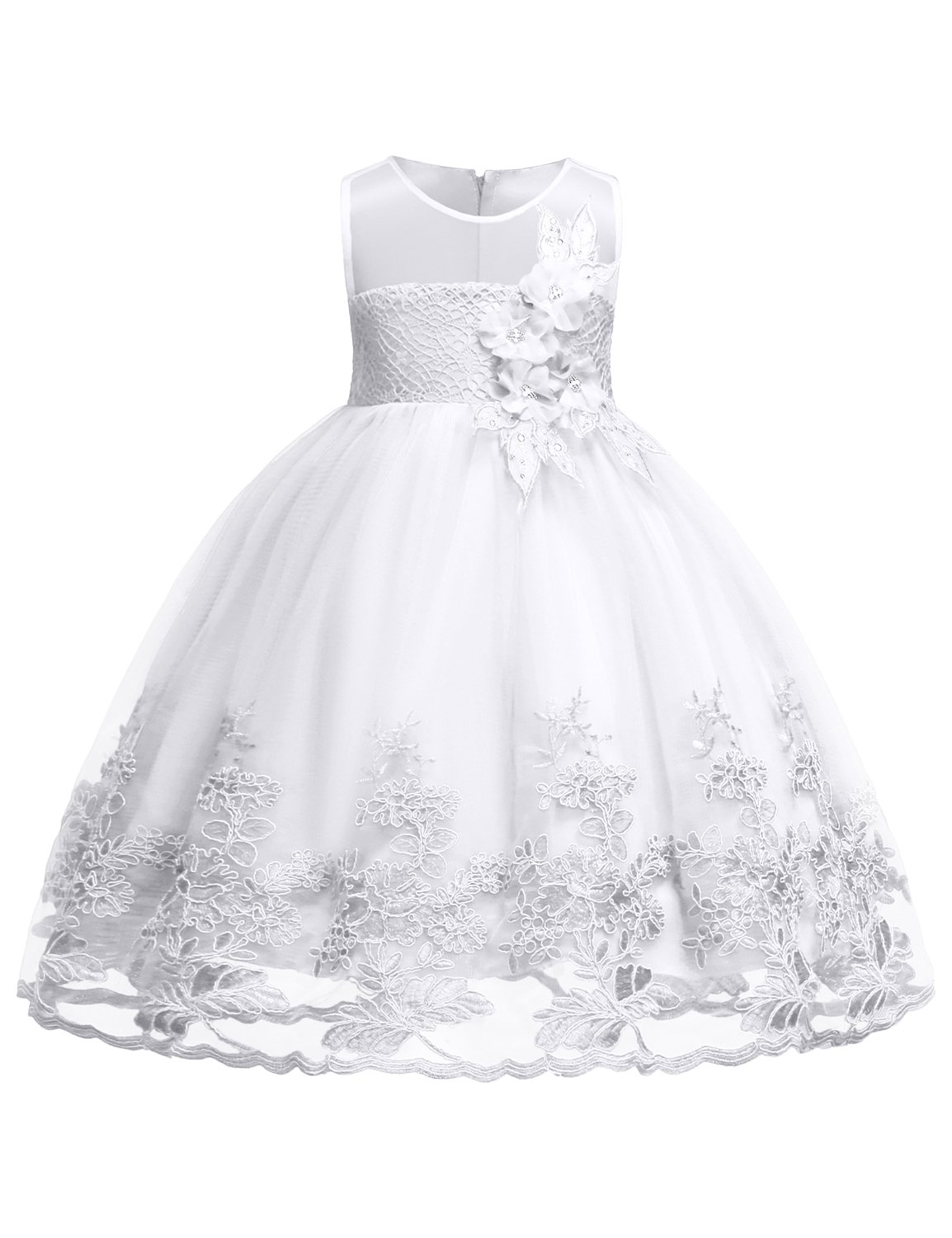 Blevonh Girl Pageant Dress Girls Double Layer Tulle Skirt Kids Flower Wedding Dresses Pageant Sleeveless Chiffon Lace Dresses Size (130) 7-8 Years White Dress