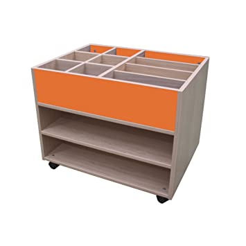 Mobeduc Alta estantería Carrito de Doble Cara, Madera, Naranja, 80 x 94 x 55 cm: Amazon.es: Hogar