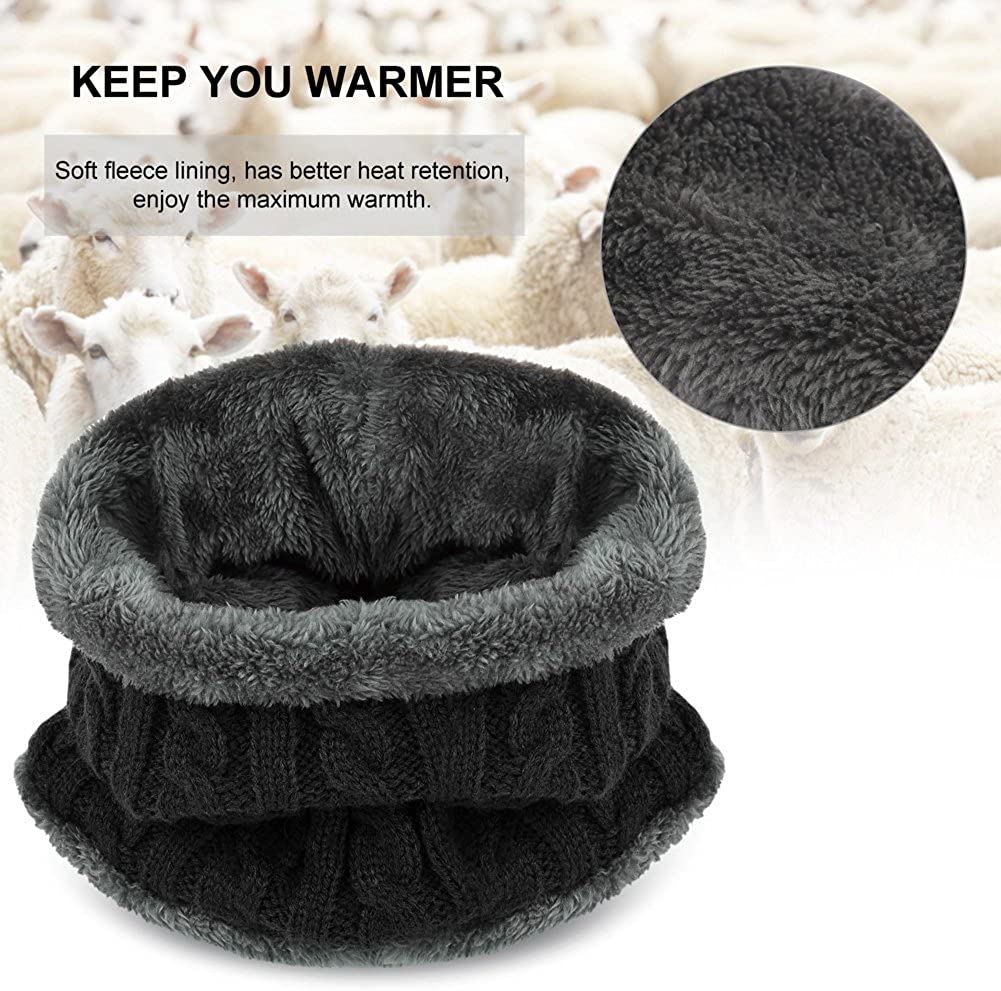 VBIGER 2-Pieces Winter Beanie Scarf Set Warm Hat Thick Knit Skull Cap for Men Women, One Size Black at  Men's Clothing store
