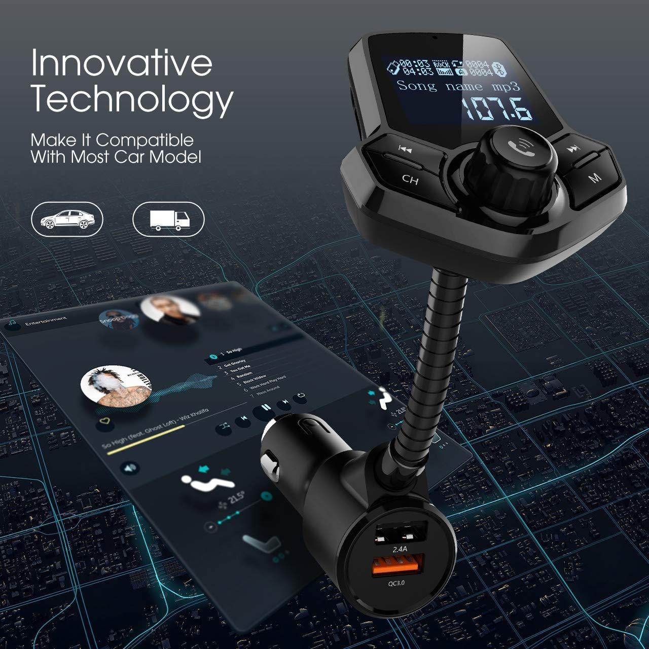 in-Car Bluetooth FM Transmitter Wireless Radio Adapter Hands-Free Car Kit with 1.44 Inches Display TF Card Mp3 Player Dual USB Ports AUX Input/Output Voltmeter Function for Smart Phones Audio Players by JFONG (Image #6)