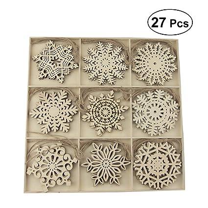 Amazon Com Amosfun 27pcs Christmas Wooden Slices Snowflakes Shaped