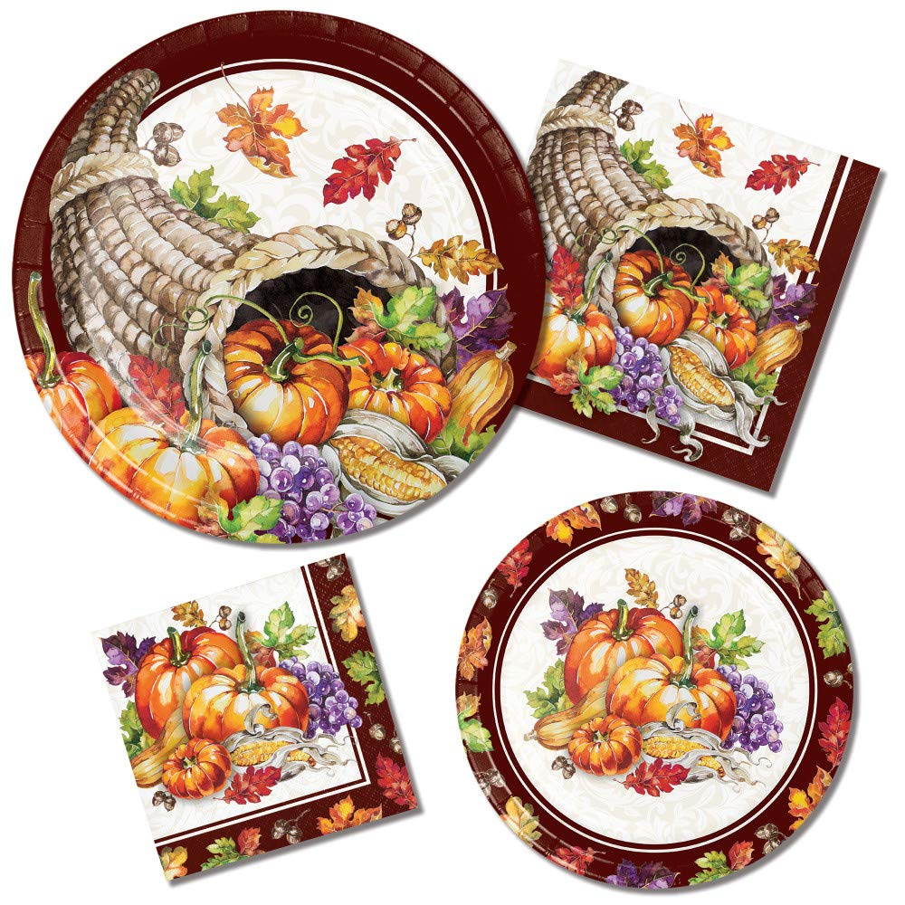 Thanksgiving Paper Plates and Napkins Set - 64 Total Pieces Including 32 Plates and 32 Napkins (4 Different Sizes) Featuring a Cornucopia Theme by RLP Marketing LLC