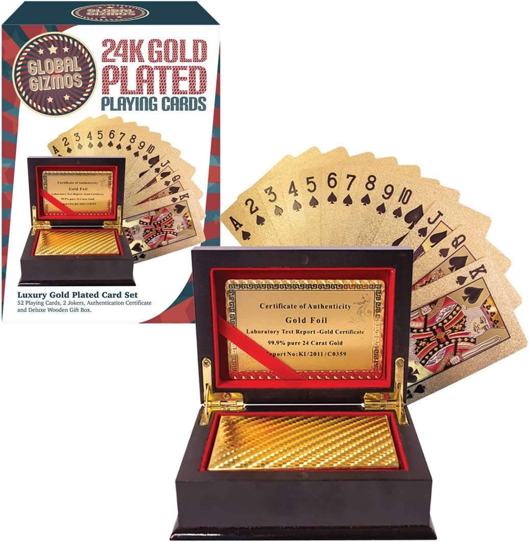 Global Gizmos 51320 Certificated Real Gold Plated Playing Cards in...