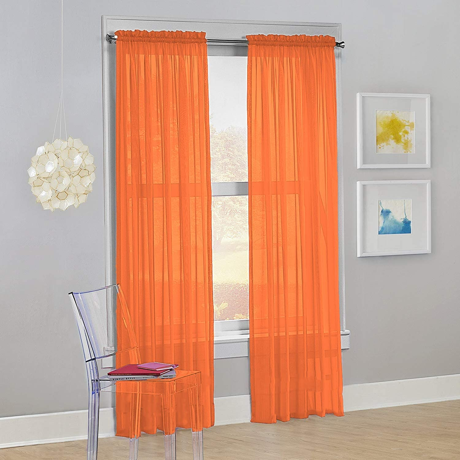 "DiamondHome Set of 2 Piece Beautiful Sheer Window Elegance Curtains-Drape-Panels-Treatment 54"" X 84"" (Orange)"