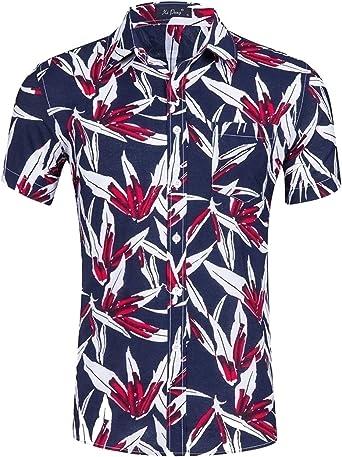 Mens Hawaiian Aloha Shirt Short Sleeve Tropical Floral Print Button Down Shirt