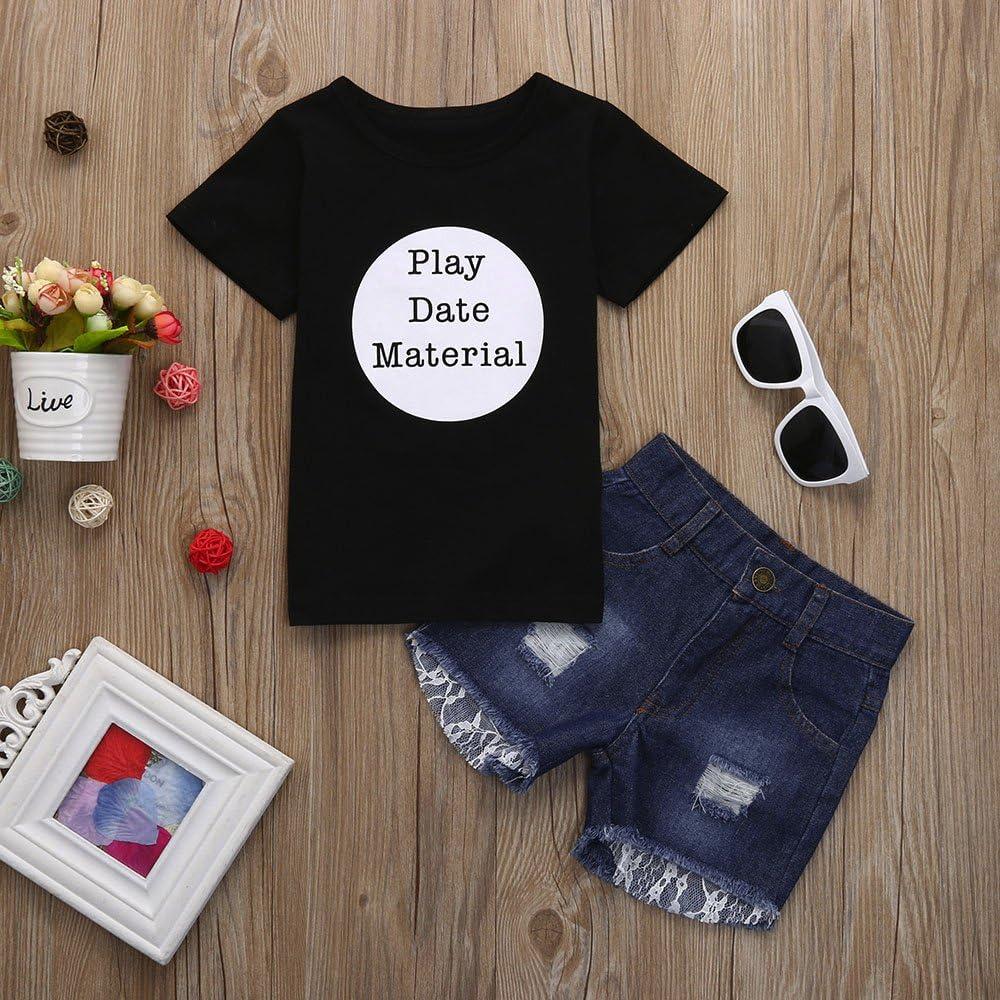 Fenleo Toddler Kids Baby Girls Letter Short Sleeve T-Shirt Tops+Lace Distressed Denim Shorts Outfit Set