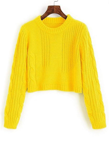 7352174d35 ZAFUL Donna Maglione Corto Pullover Manica Lunga Sweater Maglioni ...