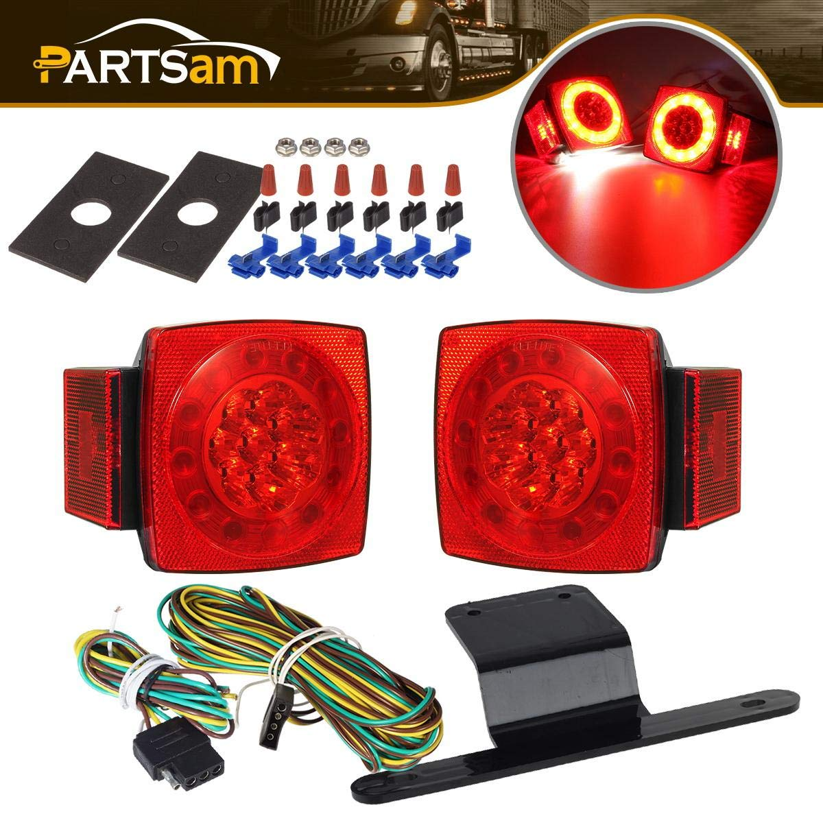 Partsam Led Submersible Trailer Tail Lights Kit, Waterproof 12V Square LED Trailer Lights Halo Glow with Wiring Harness Combination Brake Stop Turn Running License Lights for RV Marine Boat Trailer by Partsam