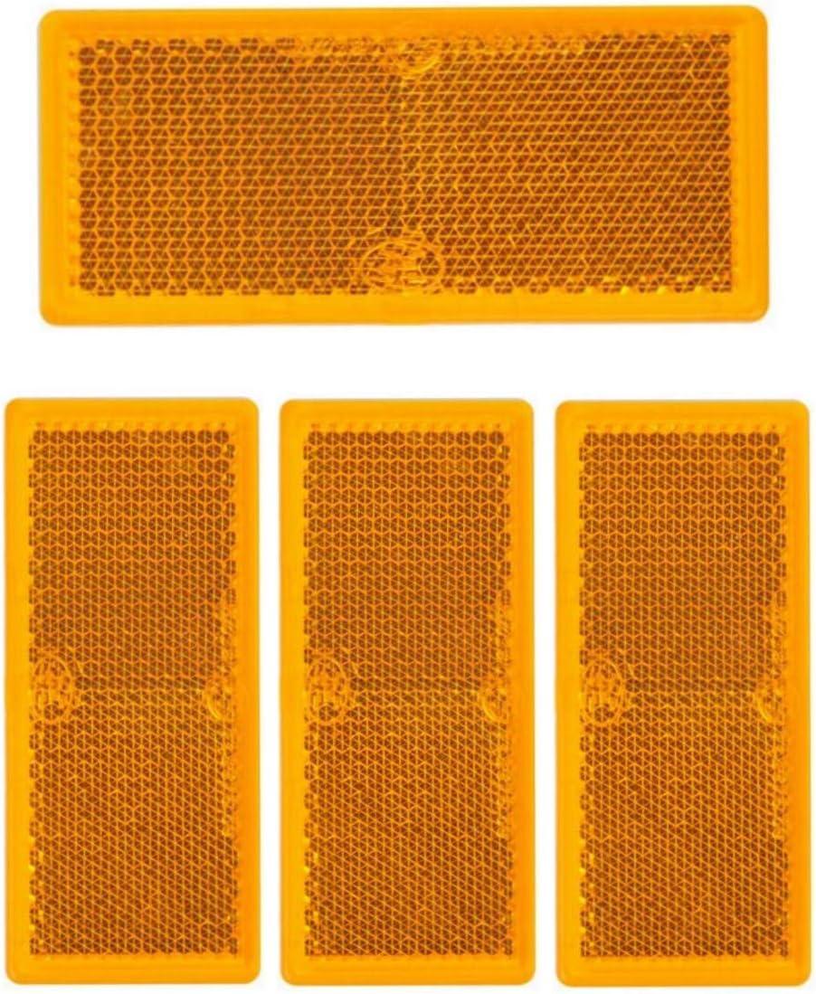 4 X Rückstrahler Orange Rechteck Anhänger Katzenauge Reflektor Lkw Wohnwagen Pkw Auto