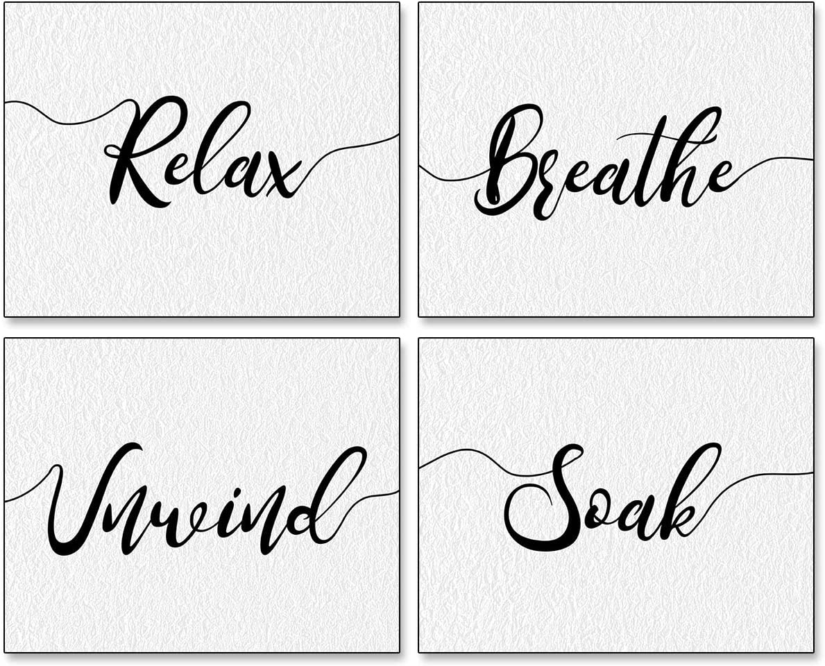 VOUORON Modern Simplicity Abstract Relax Soak Unwind Breathe Art Painting Set of 4 (8x10 Canvas Picture) Used for Bedroom Office Corridor Decor Poster Wall Bathroom Locker Home Decor Frameless
