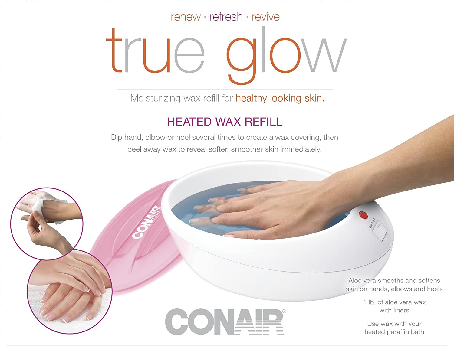 True Glow by Conair Thermal Paraffin Bath Wax Refill; replacement wax for Model PB8NR RP-PB8NR