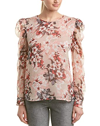 dda24b66f Vince Camuto Womens Puff Shoulder Long Sleeve Timeless Blooms Floral Blouse  Dune Lily LG
