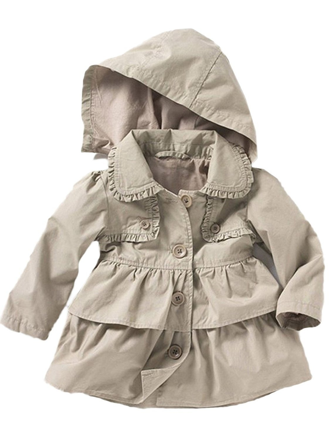 455a7914f JT-Amigo Baby Girls Hooded Trench Coat Spring Summer Jacket Outfits ...