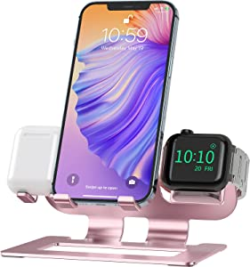 Deszon 3 in 1 Charging Station for Apple Watch Stand for iWatch Dock Stand Series SE/6/5/4/3/2/1, Aluminum iWatch Charger Stand for AirPods Pro/2/1 iPhone 12/11/X/XR/8/7/6 Watch Stand - Rose Gold