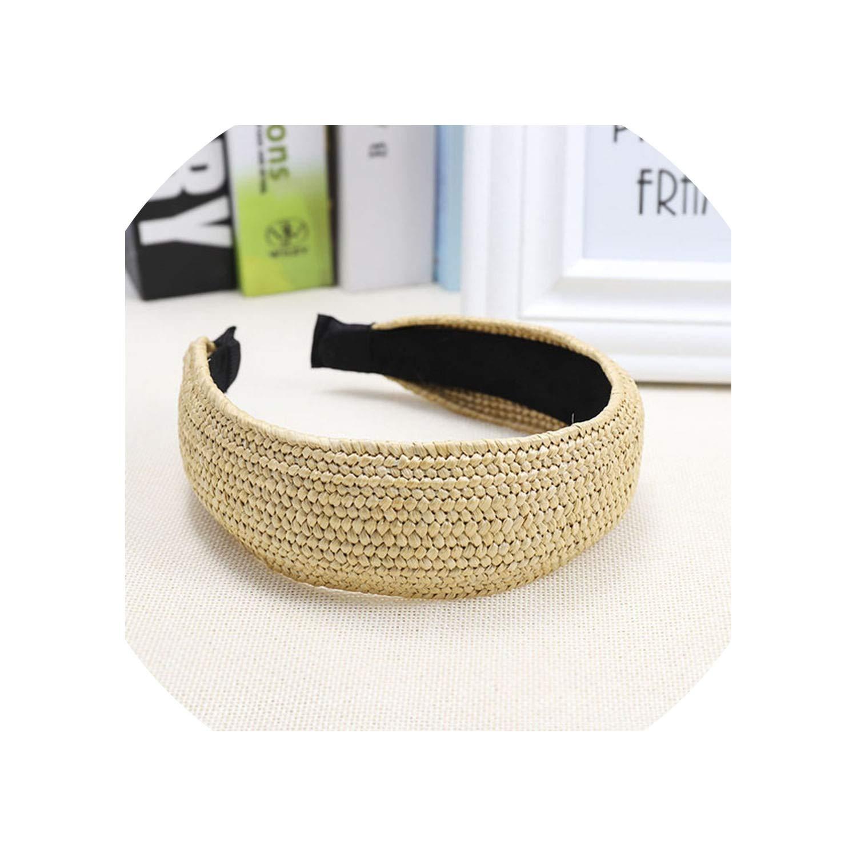 Bohemian Vintage Straw Lafite grass weaving Headband Hairband Hair Accessories,Black 1