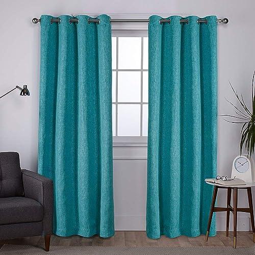 Exclusive Home Curtains EH8009-05 2-84G Vesta Heavyweight Textured Linen Blackout Window Curtain Panel Pair