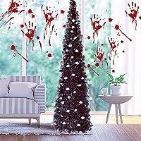 Fonder Mols 5ft Collapsible Artificial Halloween Christmas Tree, Pop Up Small Thin Black Tinsel Coastal Pencil Xmas Tree…