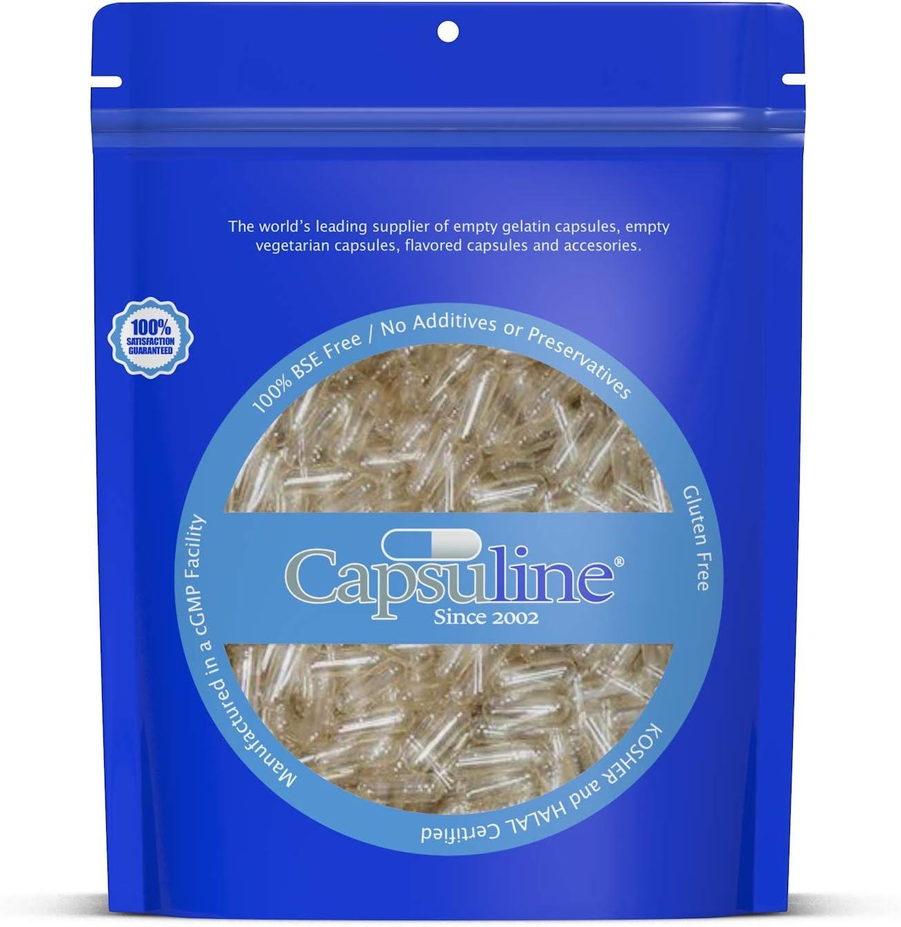 Cápsulas de Gelatina Vacías Transparentes Tamaño 0 de Capsuline - 1000 Unidades