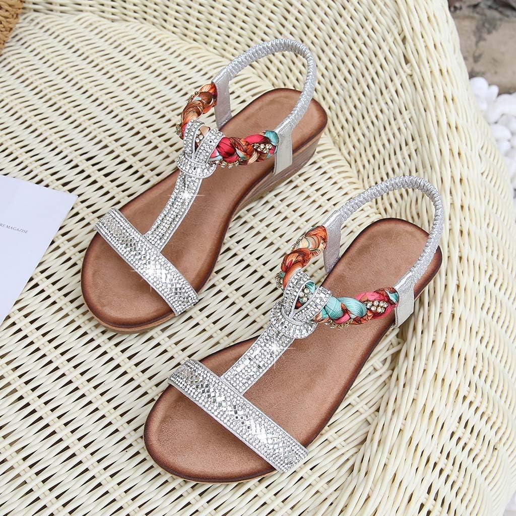 Dainzusyful Womens Bohemia Beach Sandals Crystal with Rhinestone Open Toe Summer Ankle Platform Dress Sandals