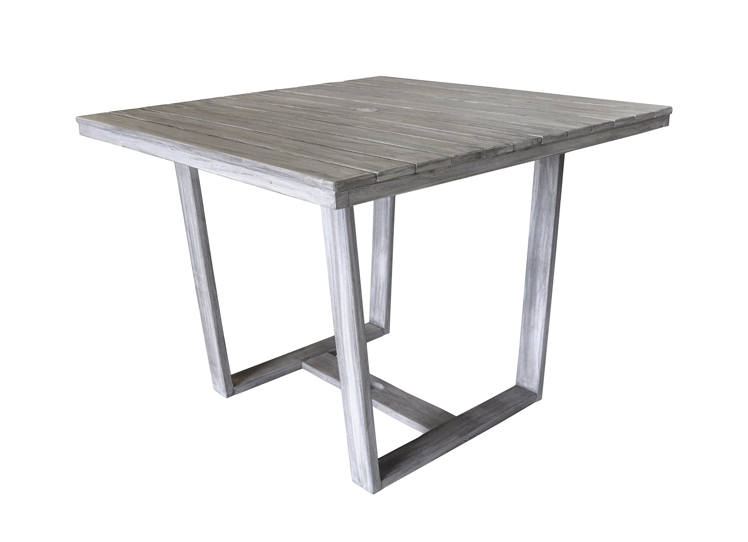 Bayside Square To Round Dining Table: Courtyard Casual Driftwood Gray Teak Contemporary Bay Side