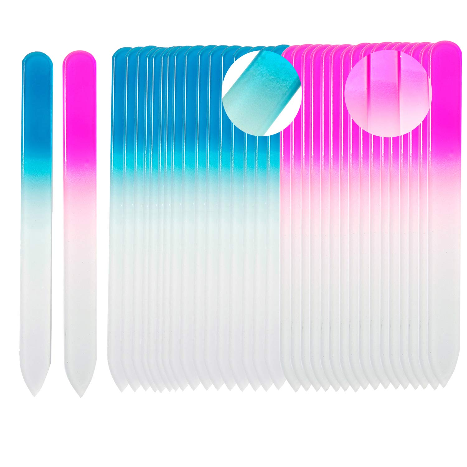 SIUSIO 40 pack Professional Czech Crystal Glass Nail Files Buffer Manicure Tools Kit Set Gradient Rainbow Color for Nail polishing - Best for Fingernail & Toenail Care e(pink&blue) by SIUSIO