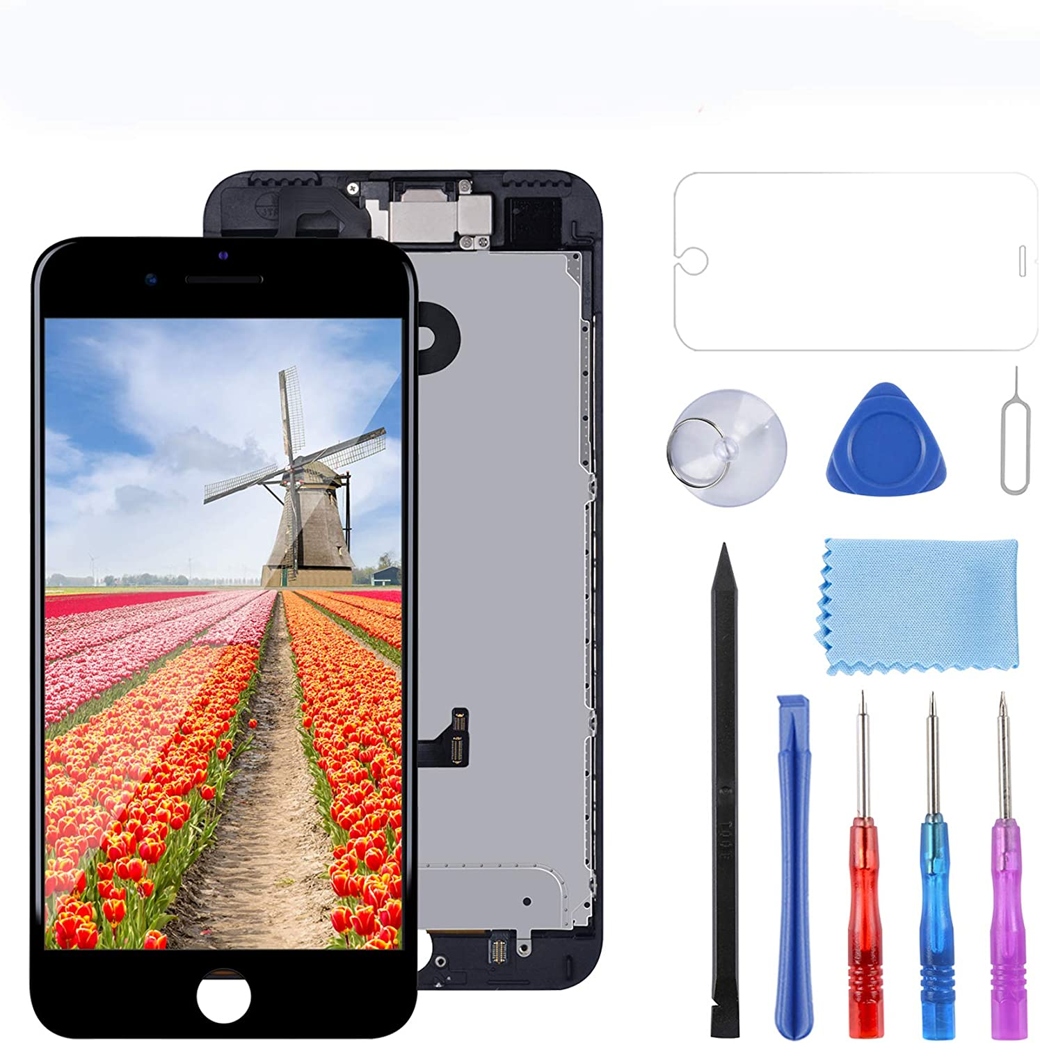 YPLANG Compatible with iPhone 7 Plus Screen Replacement Black 5.5 Inch LCD Display with 3D Touch Screen Digitizer Frame Full Assembly with Proximity Sensor, Earspeaker and Front Camera, Repair Tools