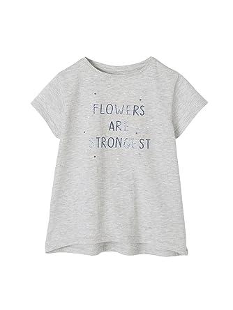 f585abbc79a1d Vertbaudet T-Shirt Manches Courtes Fille à Message Gris chiné 6 A   Amazon.fr  Vêtements et accessoires