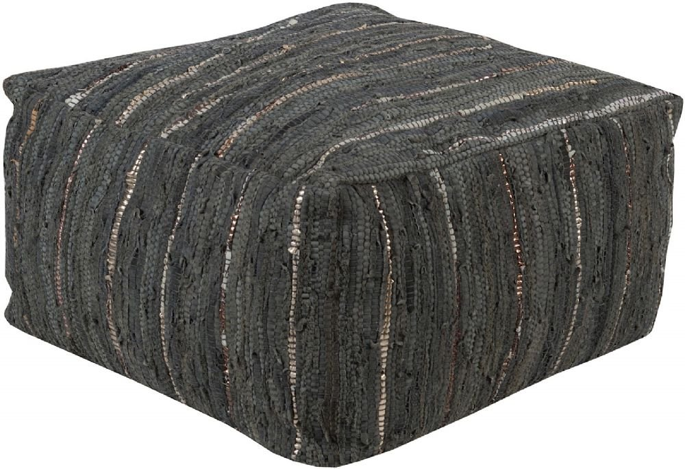 Surya Contemporary Square pouf/ottoman 24''x24''x13'' in Slate Color From Anthracite Collection