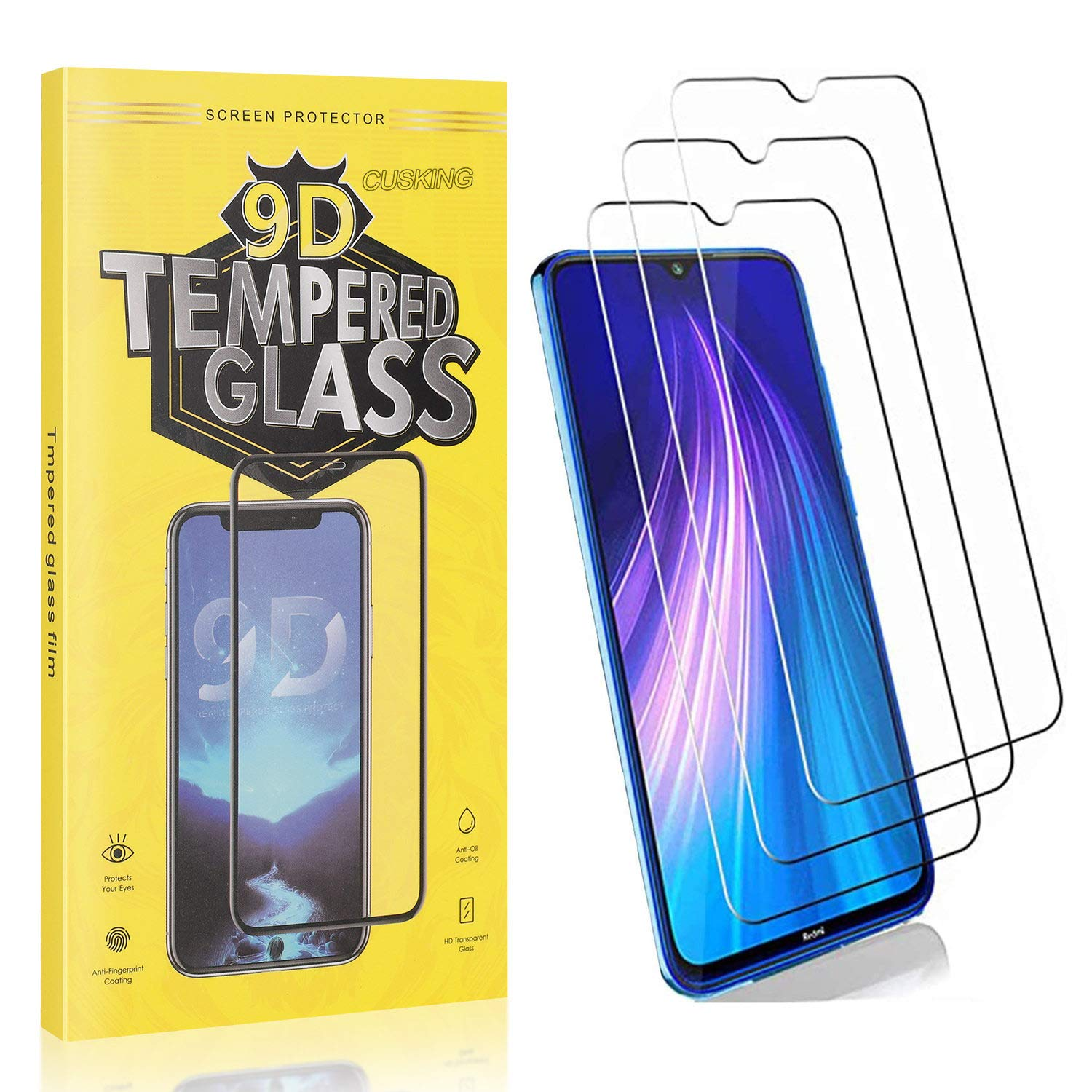 3 Pack CUSKING Ultra Thin 9H Screen Protector for Huawei Honor 8A Pro Bubble Free Screen Protector Compatible with Huawei Honor 8A Pro 99.99/% Clarity Tempered Glass