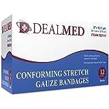 """Dealmed 2"""" Sterile Conforming Stretch Gauze Bandages, 4.1 Yards Stretched, 12 Rolls"""