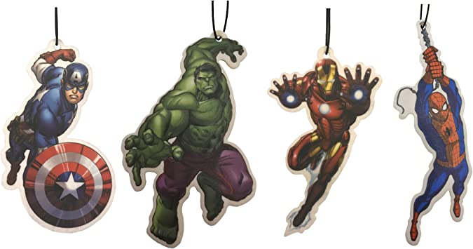 Marvel Avengers Auto Lufterfrischer Mit Den Motiven Hulk Captain America Iron Man Und Spiderman 4 Stück Auto