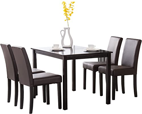 Mecor 5 Piece Dining Table Set Wood Table/4 Leather Chairs Kitchen Room Breakfast Furniture Brown