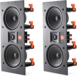 """JBL LAE5I Dual 5-1/4"""" 2-Way in-Wall LCR Speakers Frameless with White Magnetic Grille - (2 Pack)"""
