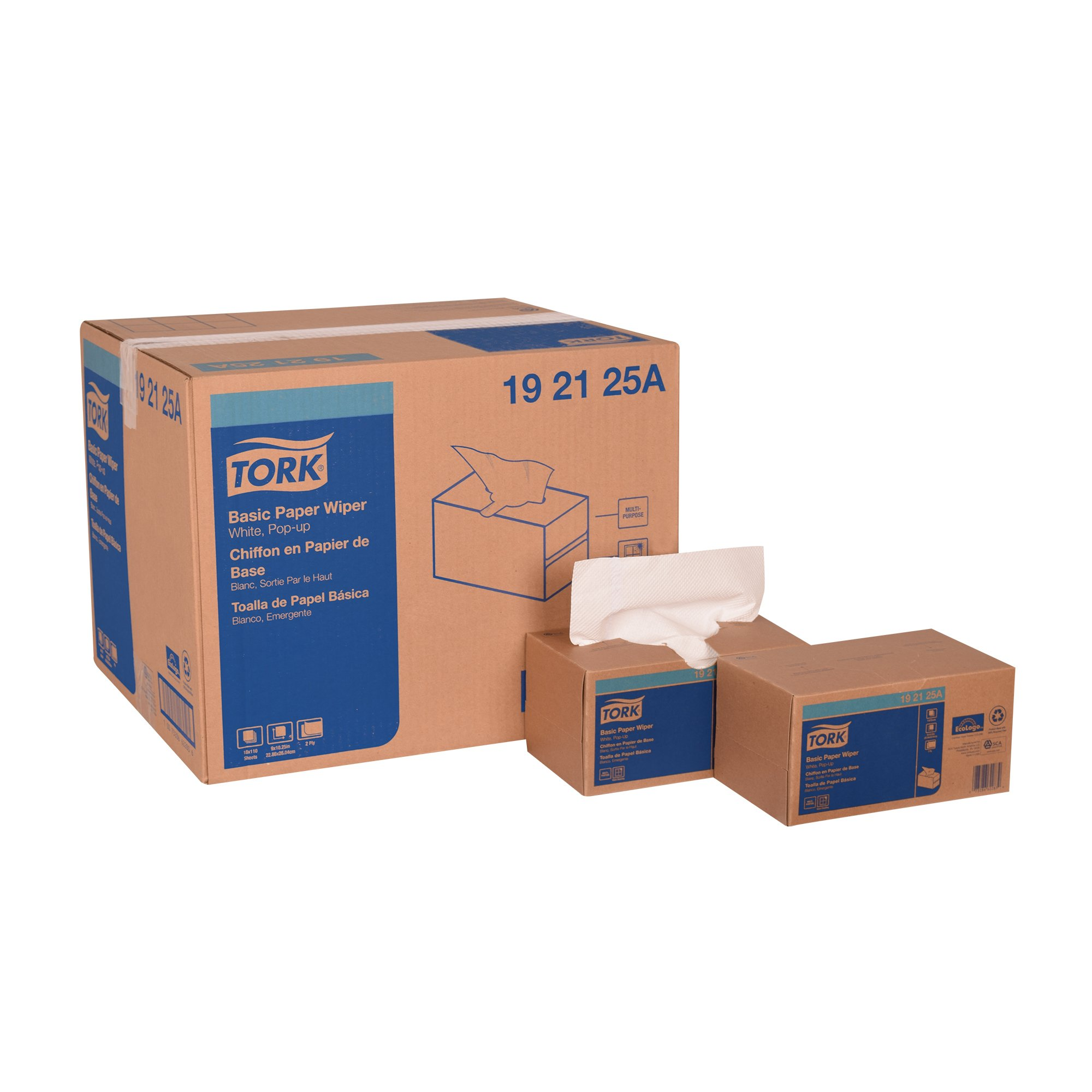 Tork 192125A Basic Paper Pop-Up Box, 2-Ply, 9'' Width x 10.25'' Length, White, (Case of 18 Boxes, 110 per Box, 1,980 Towels)