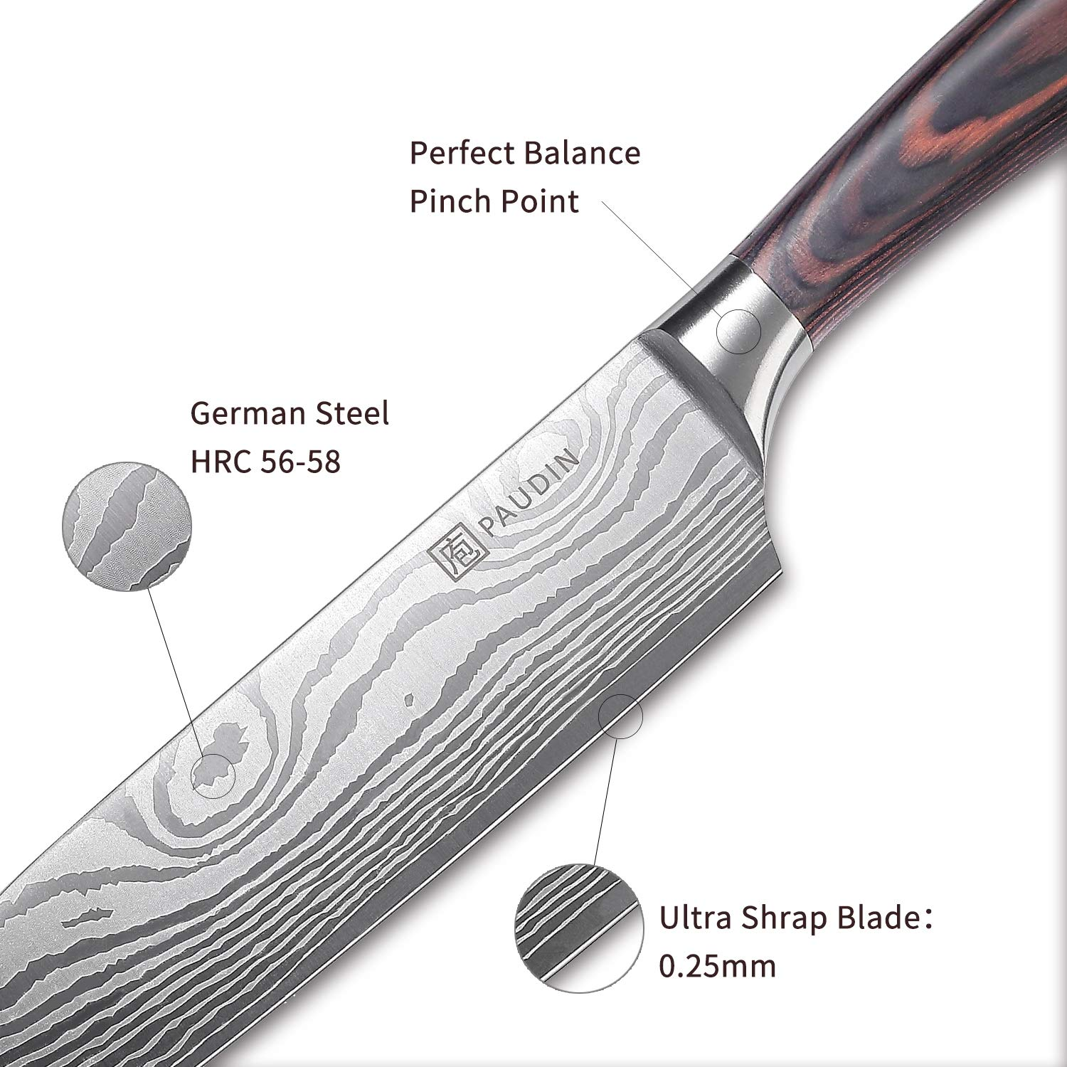 Santoku Knife - PAUDIN Classic 7 inch Hollow Ground Sharp Knife, German High Carbon Stainless Steel Kitchen Knife by PAUDIN (Image #4)
